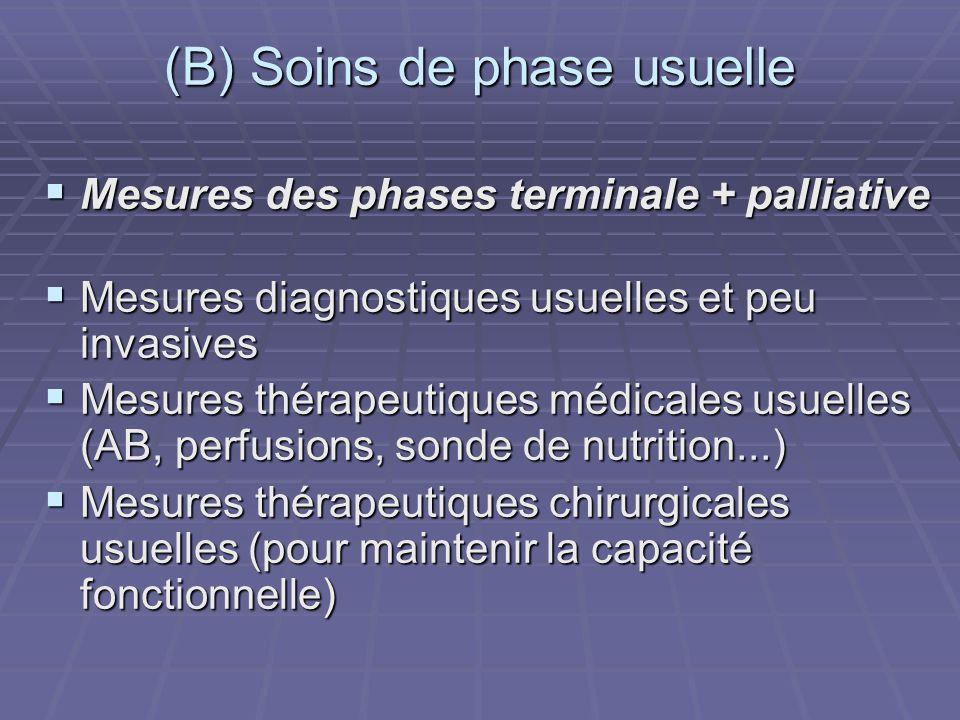 (B) Soins de phase usuelle
