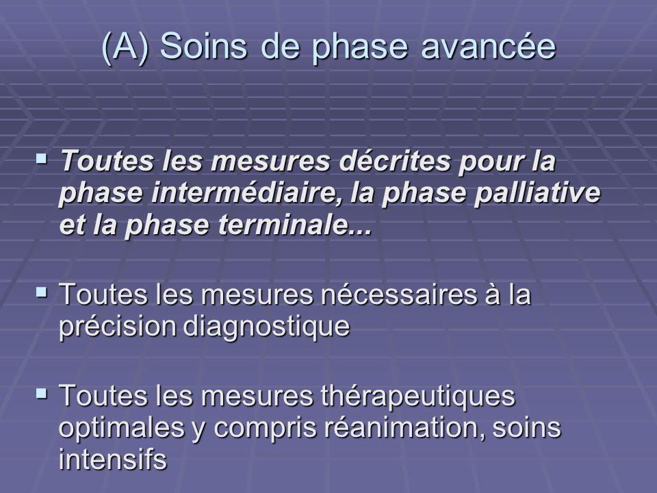 (A) Soins de phase avancée