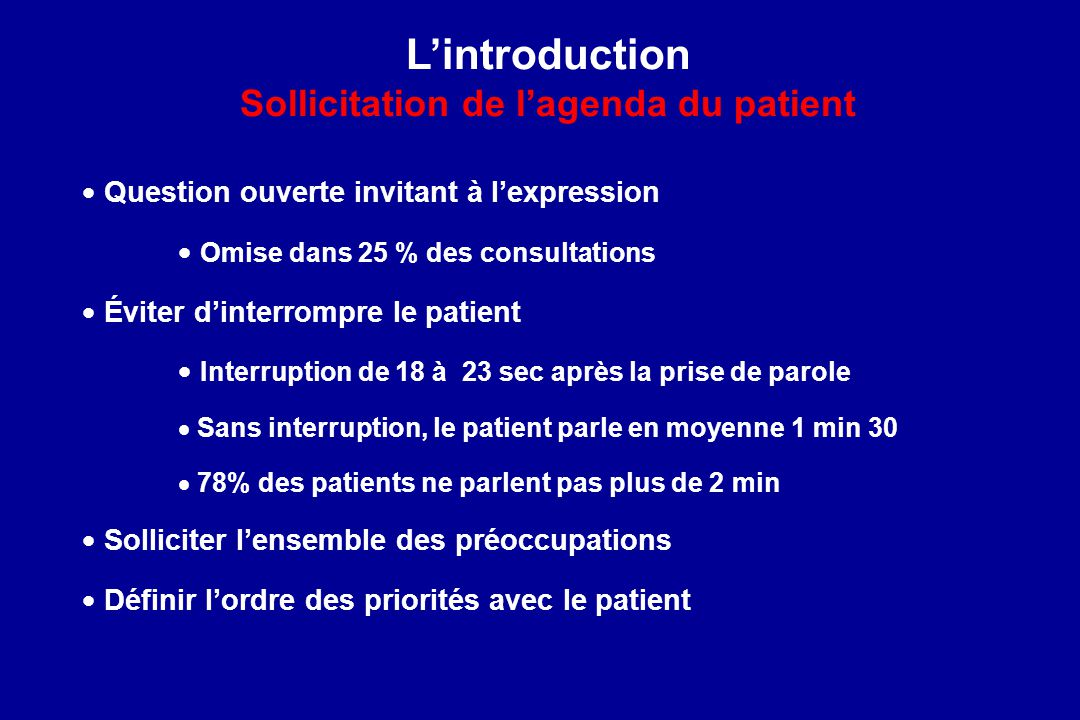 L'introduction Sollicitation de l'agenda du patient