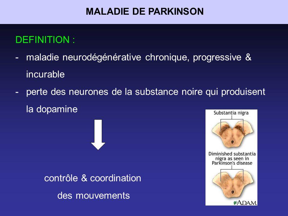 MALADIE DE PARKINSON DEFINITION : maladie neurodégénérative chronique, progressive & incurable.