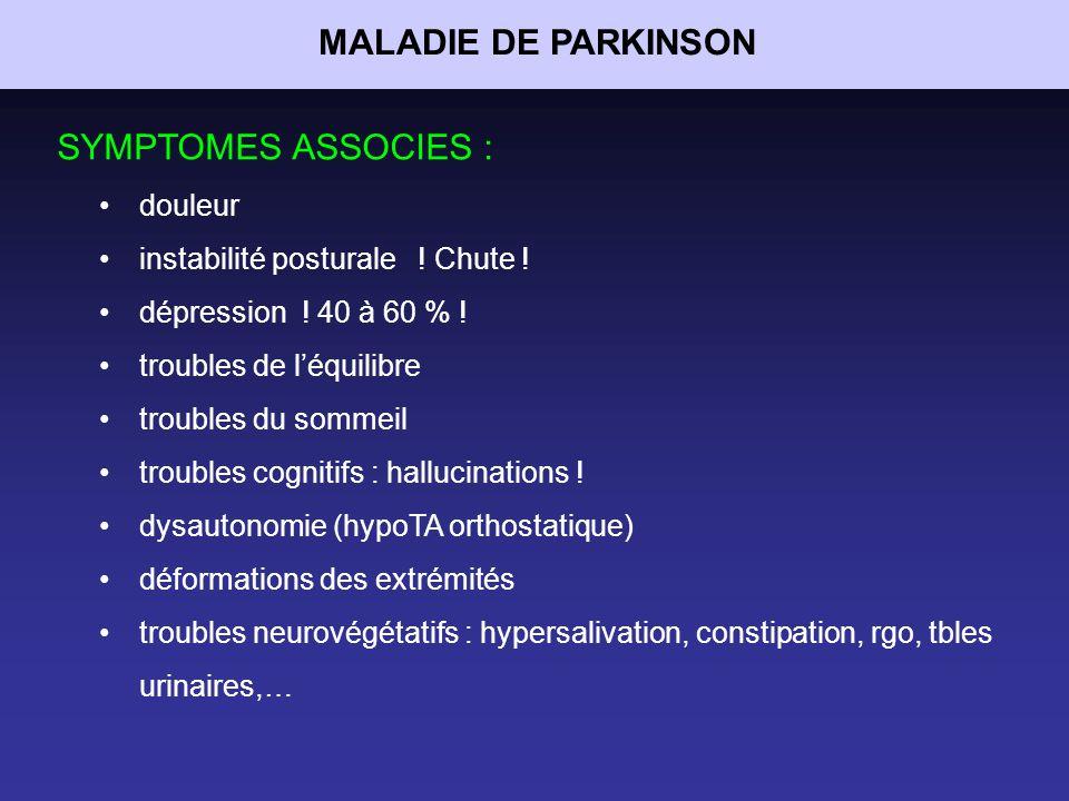 MALADIE DE PARKINSON SYMPTOMES ASSOCIES : douleur