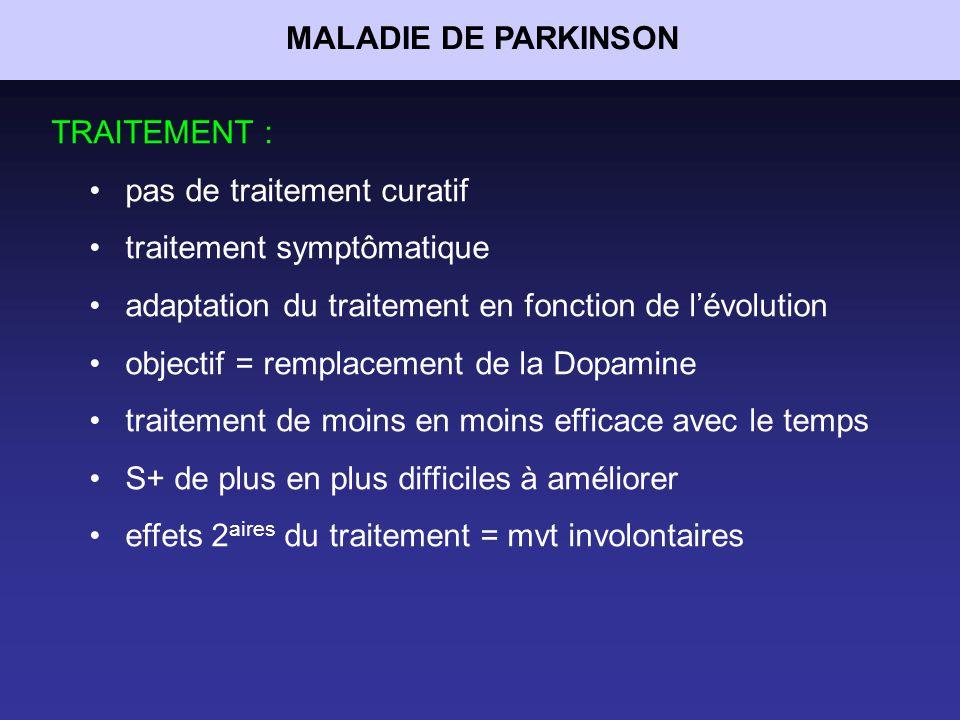 MALADIE DE PARKINSON TRAITEMENT : pas de traitement curatif. traitement symptômatique. adaptation du traitement en fonction de l'évolution.
