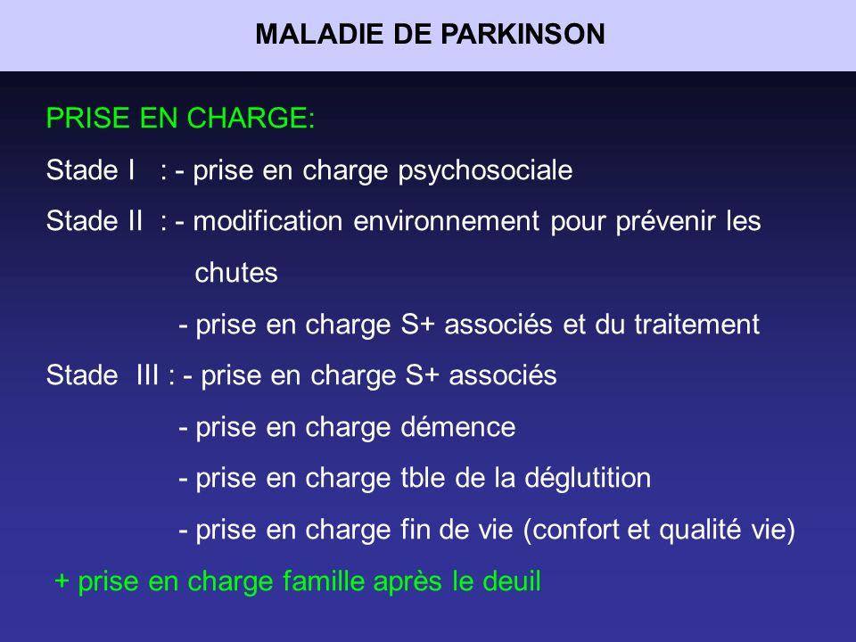 MALADIE DE PARKINSON PRISE EN CHARGE: Stade I : - prise en charge psychosociale. Stade II : - modification environnement pour prévenir les.