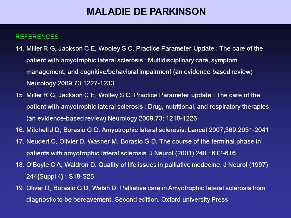 MALADIE DE PARKINSON REFERENCES :