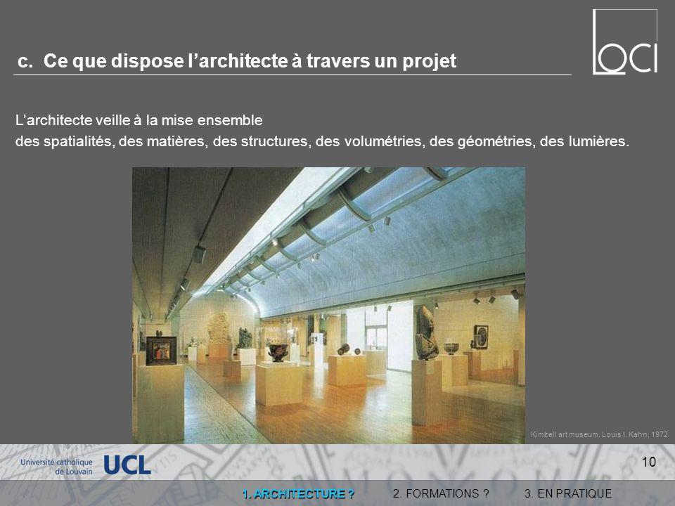 c. Ce que dispose l'architecte à travers un projet