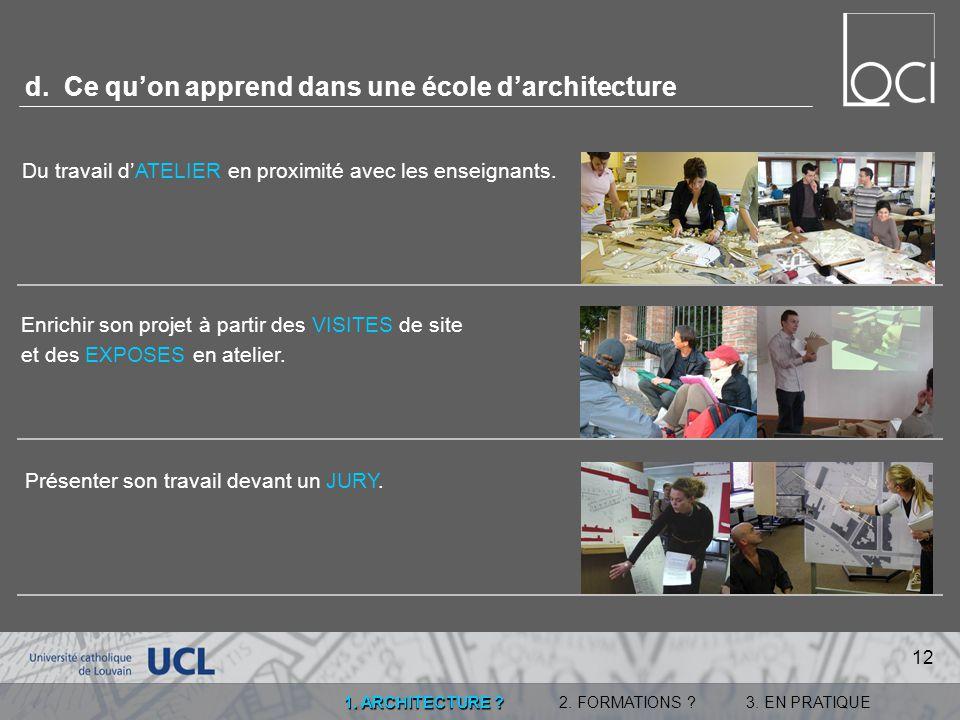 d. Ce qu'on apprend dans une école d'architecture
