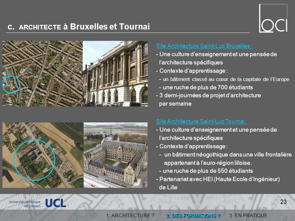c. ARCHITECTE à Bruxelles et Tournai