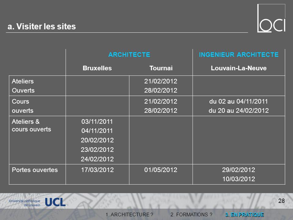 a. Visiter les sites ARCHITECTE INGENIEUR ARCHITECTE Bruxelles Tournai