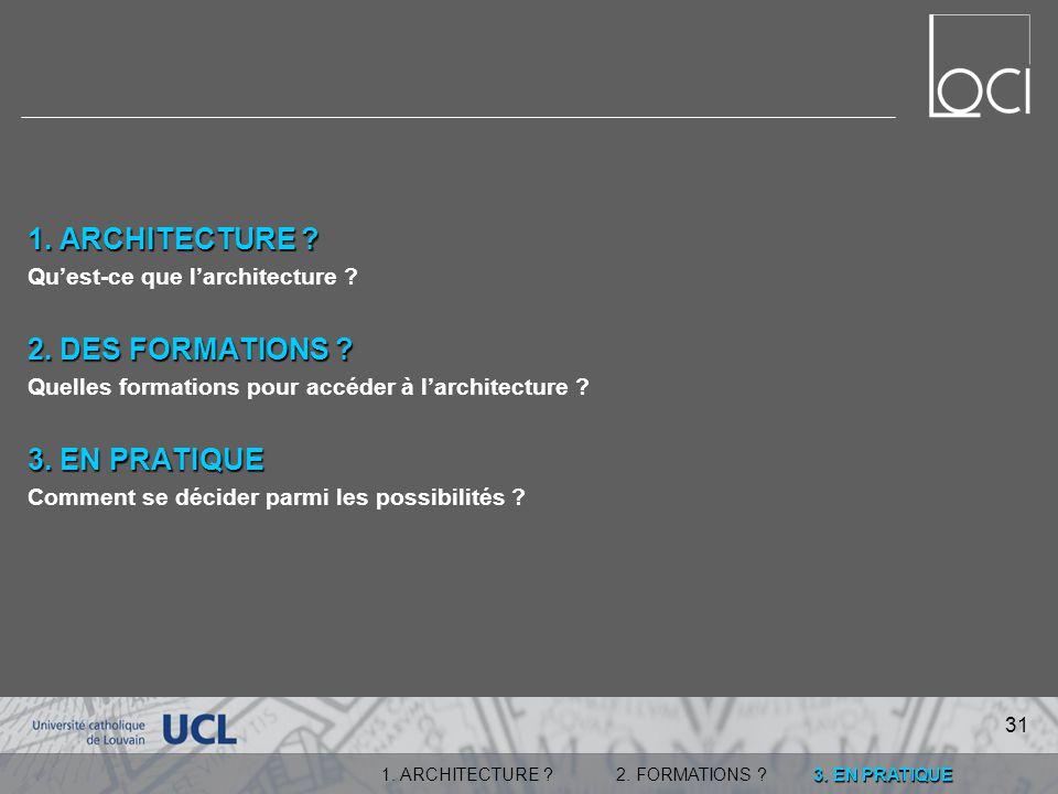 1. ARCHITECTURE 2. DES FORMATIONS 3. EN PRATIQUE