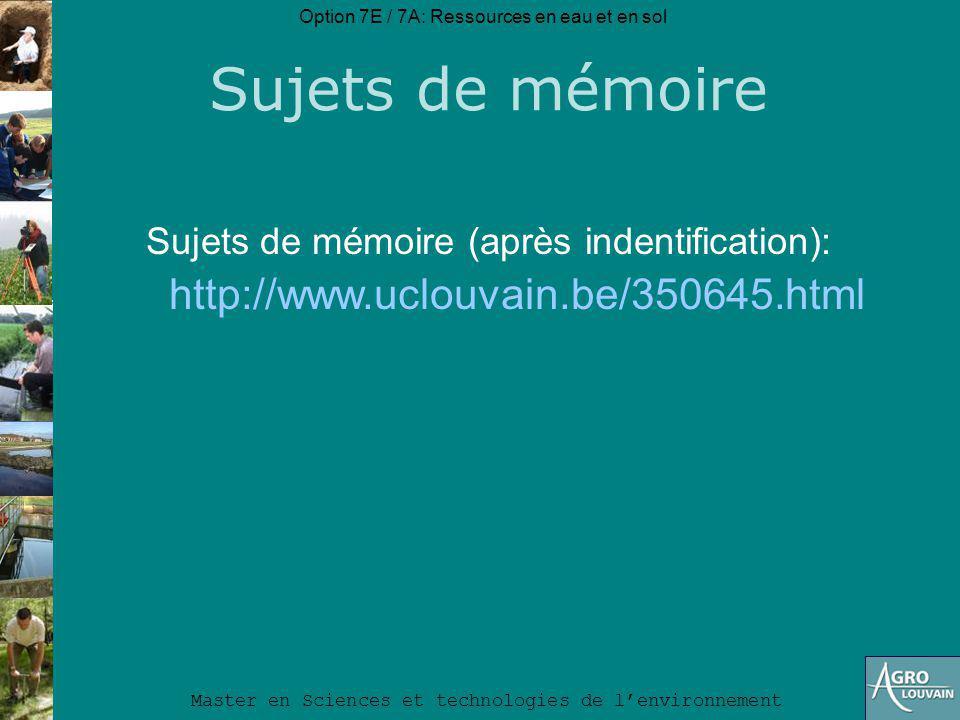 Sujets de mémoire http://www.uclouvain.be/350645.html