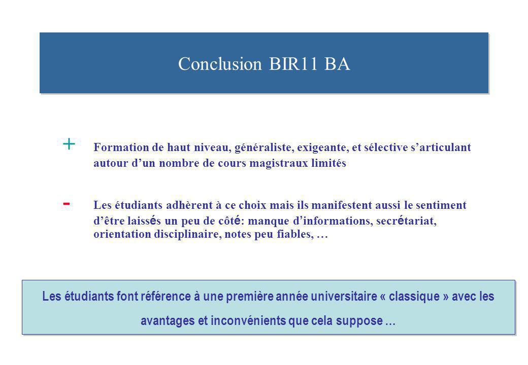 Conclusion BIR11 BA