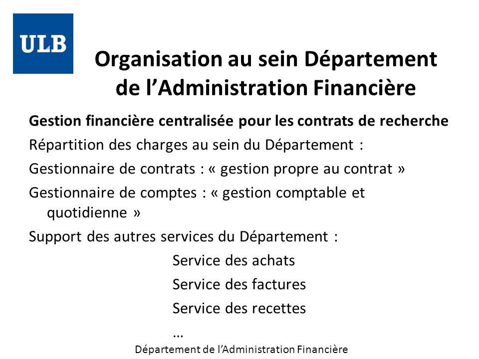 Organisation au sein Département de l'Administration Financière