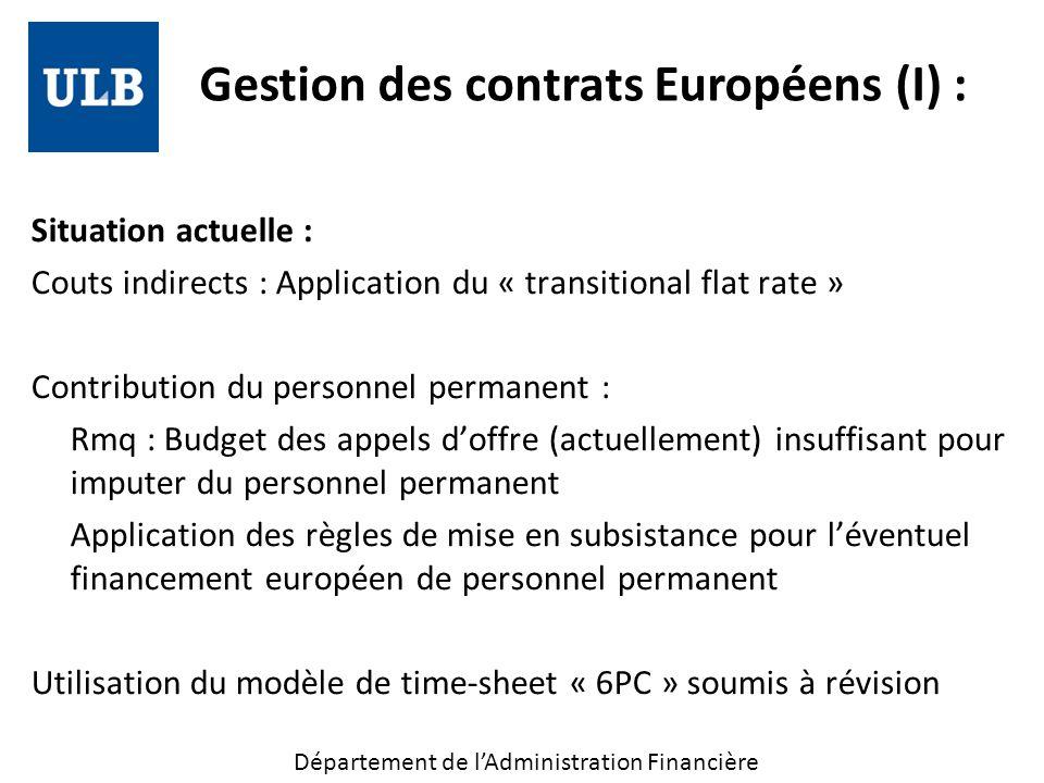 Gestion des contrats Européens (I) :