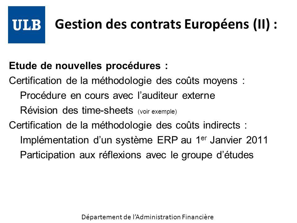 Gestion des contrats Européens (II) :