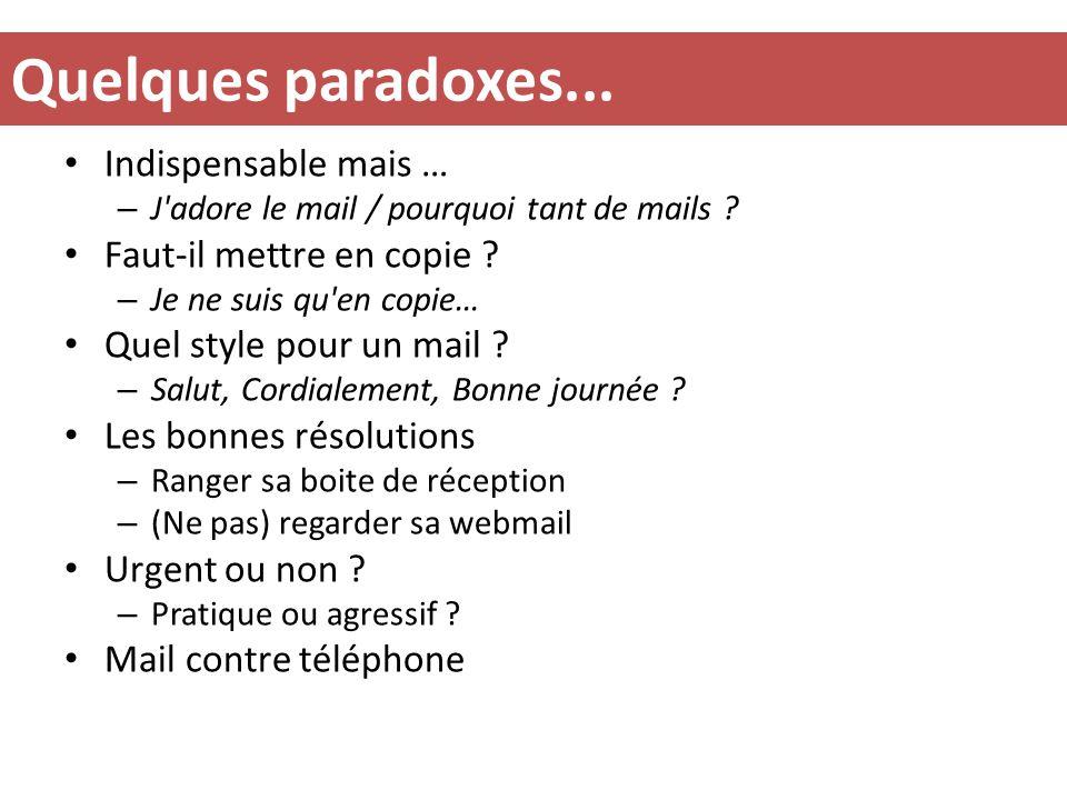 Quelques paradoxes... Indispensable mais … Faut-il mettre en copie