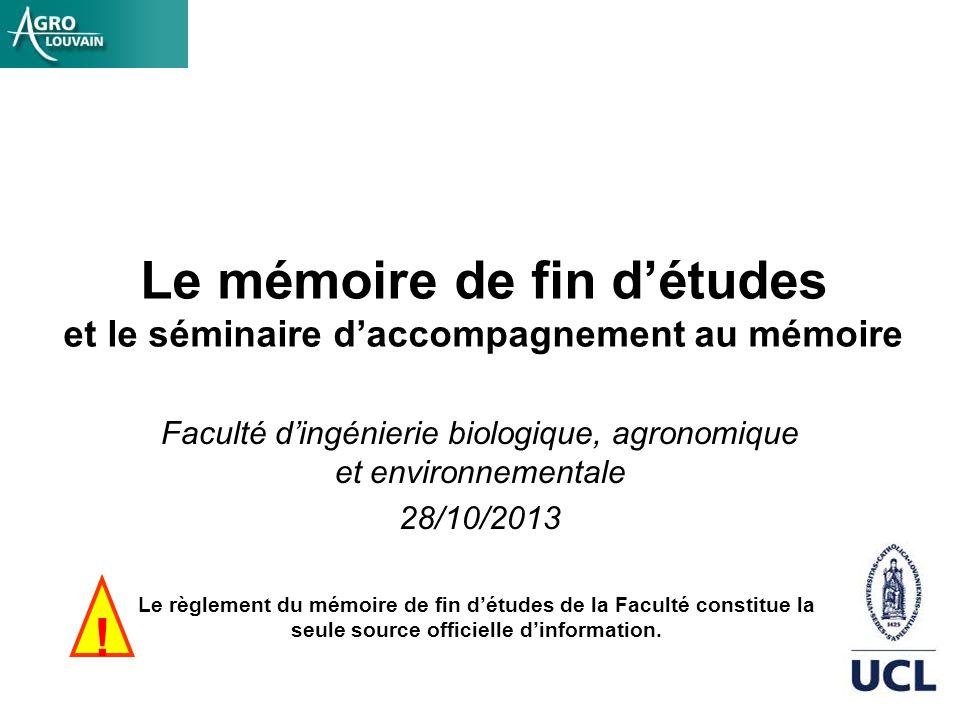 Le mémoire de fin d'études et le séminaire d'accompagnement au mémoire