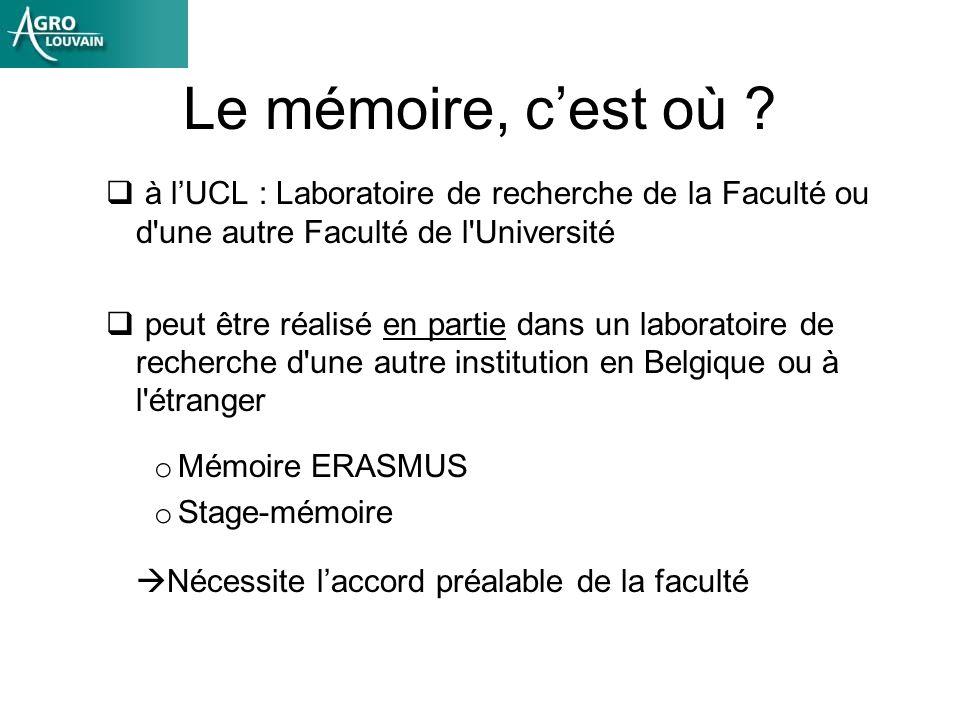 Le mémoire, c'est où à l'UCL : Laboratoire de recherche de la Faculté ou d une autre Faculté de l Université.