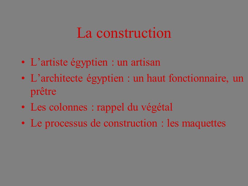 La construction L'artiste égyptien : un artisan