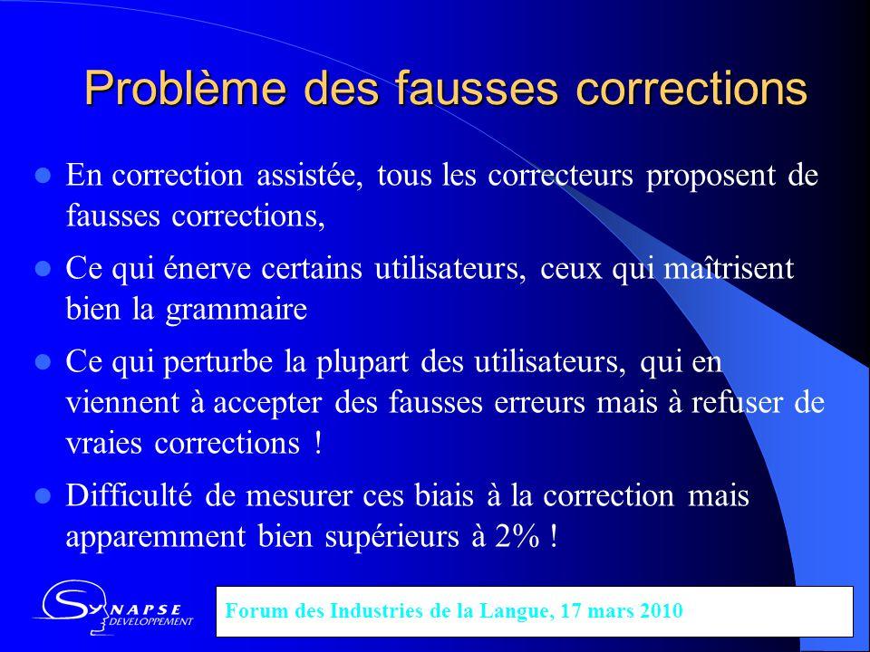 Problème des fausses corrections