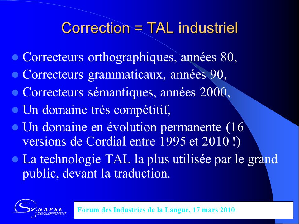 Correction = TAL industriel