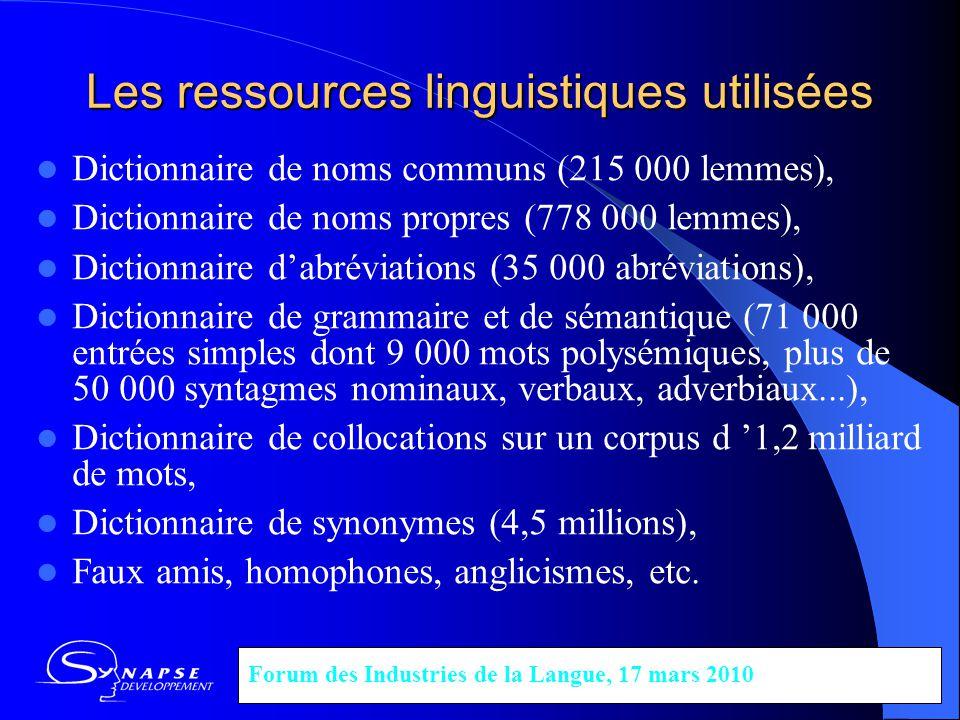 Les ressources linguistiques utilisées