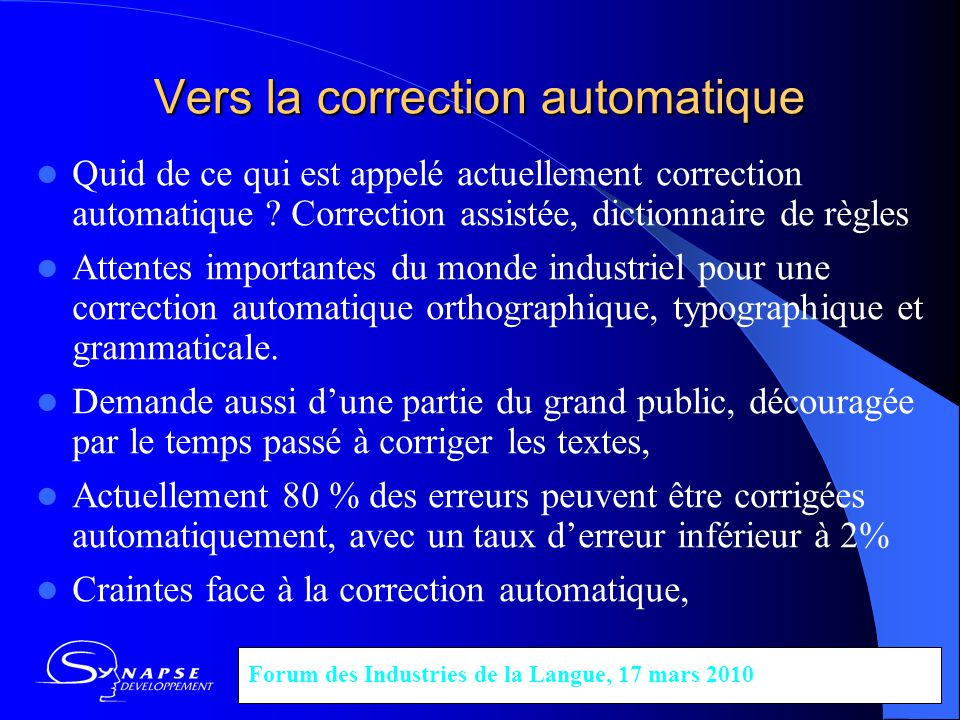 Vers la correction automatique
