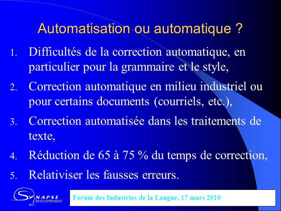 Automatisation ou automatique