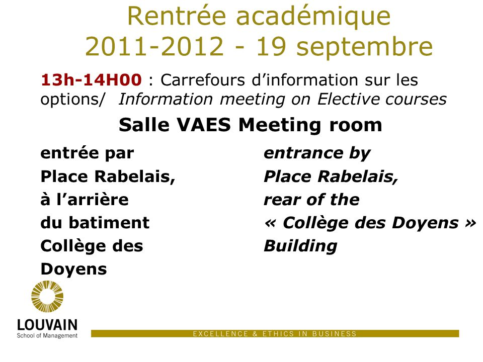 Rentrée académique 2011-2012 - 19 septembre
