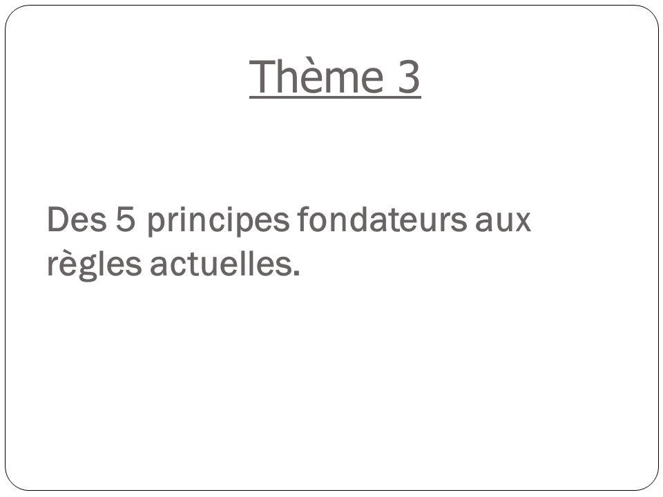 Des 5 principes fondateurs aux règles actuelles.