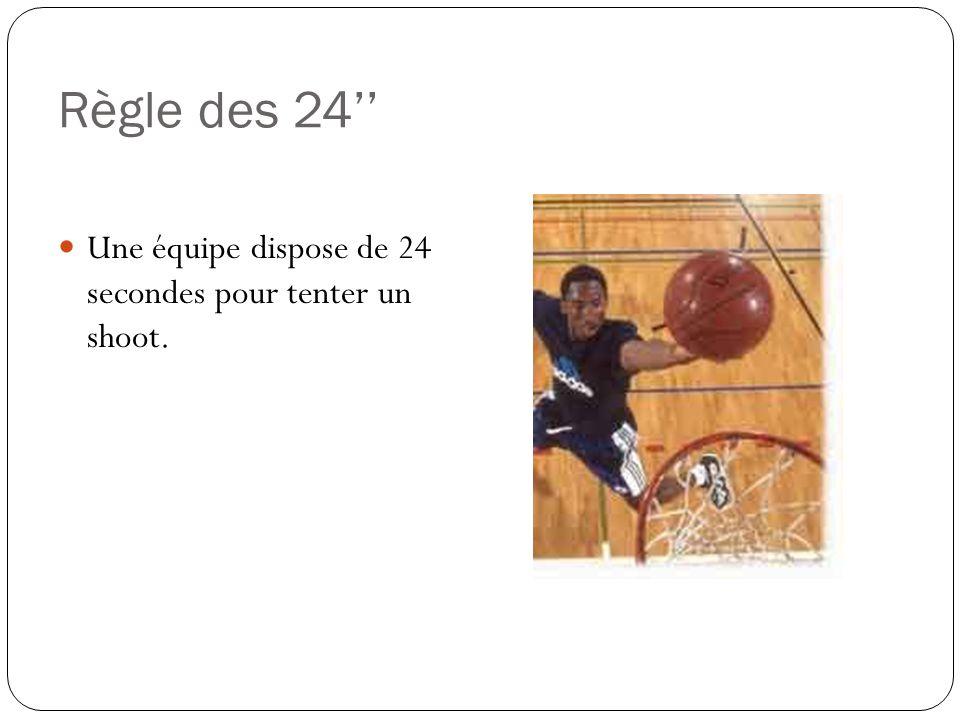 Règle des 24'' Une équipe dispose de 24 secondes pour tenter un shoot.