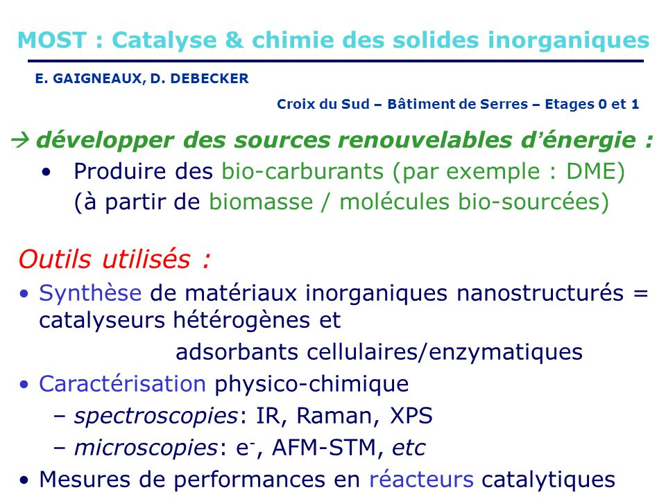 MOST : Catalyse & chimie des solides inorganiques