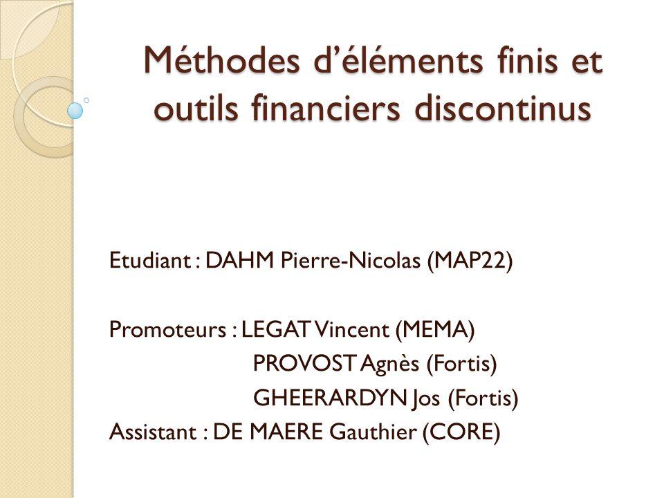 Méthodes d'éléments finis et outils financiers discontinus