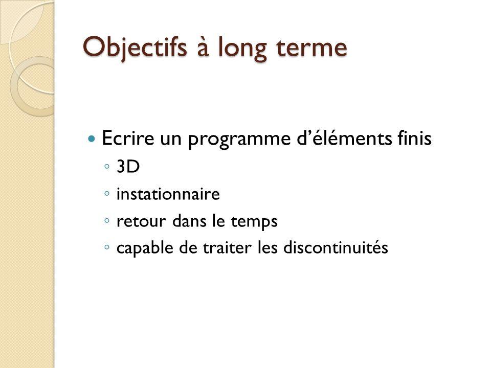 Objectifs à long terme Ecrire un programme d'éléments finis 3D