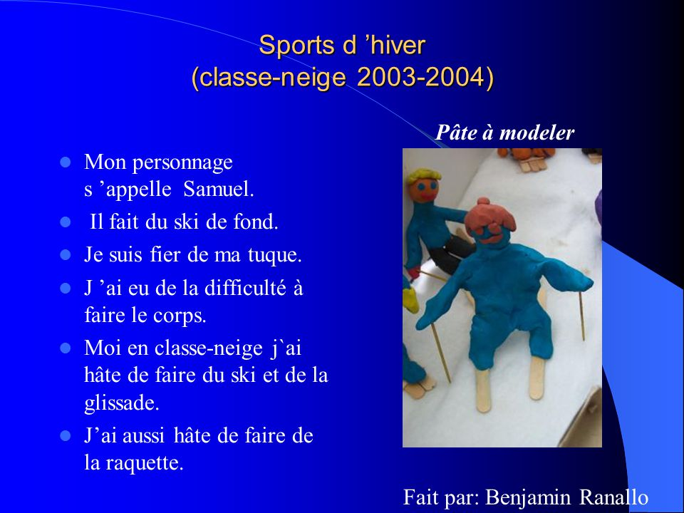 Sports d 'hiver (classe-neige 2003-2004)