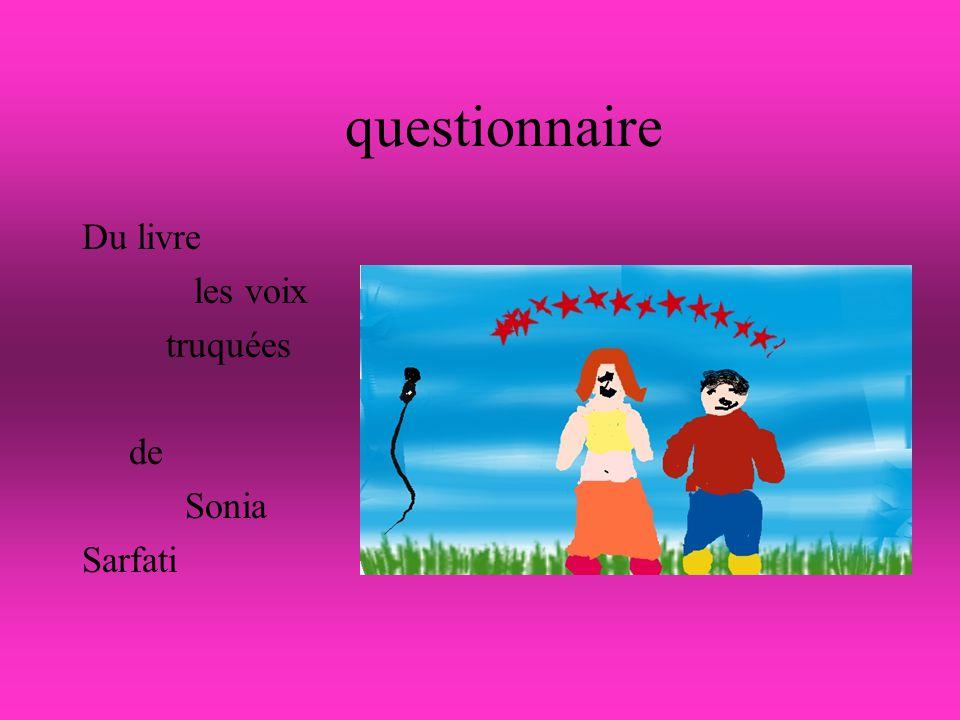 questionnaire Du livre les voix truquées de Sonia Sarfati