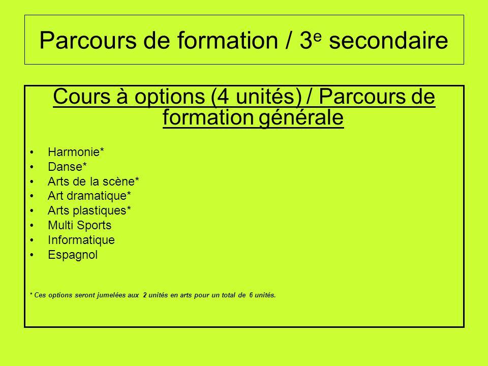Parcours de formation / 3e secondaire