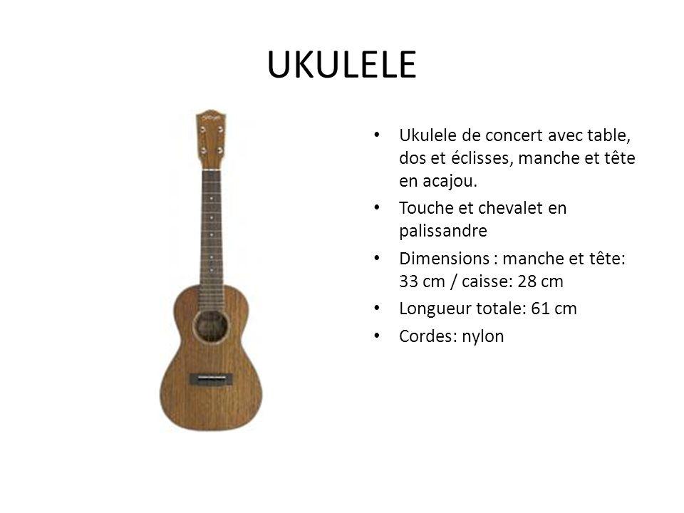 UKULELE Ukulele de concert avec table, dos et éclisses, manche et tête en acajou. Touche et chevalet en palissandre.