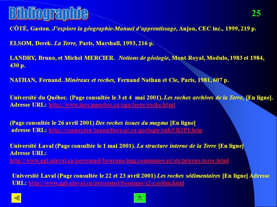 Bibliographie 25. CÔTÉ, Gaston. J'explore la géographie-Manuel d'apprentissage, Anjou, CEC inc., 1999, 219 p.