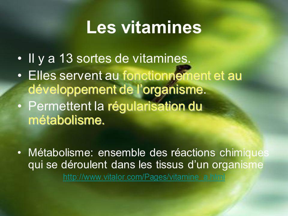 Les vitamines Il y a 13 sortes de vitamines.