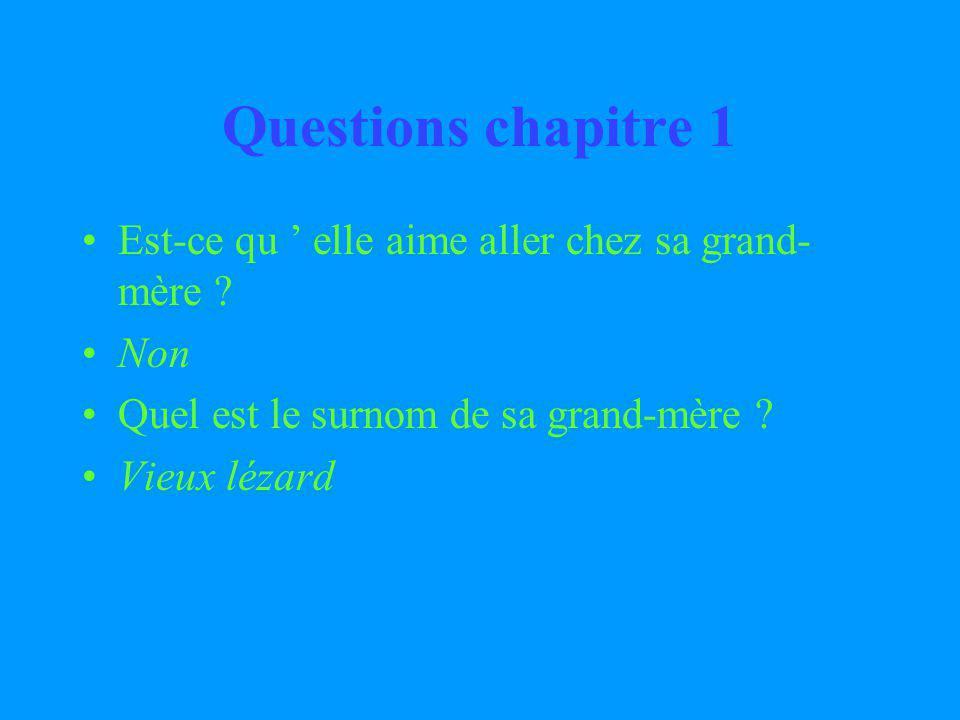 Questions chapitre 1 Est-ce qu ' elle aime aller chez sa grand-mère