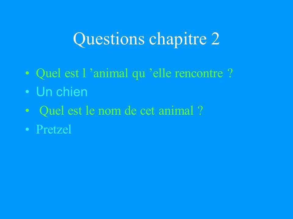 Questions chapitre 2 Quel est l 'animal qu 'elle rencontre Un chien