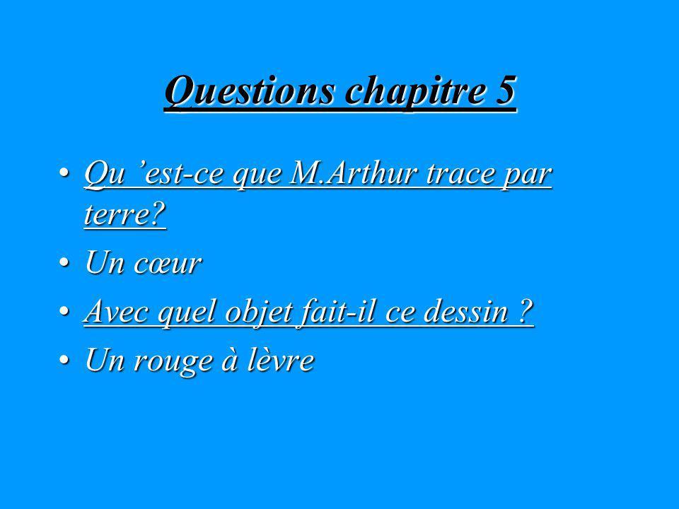 Questions chapitre 5 Qu 'est-ce que M.Arthur trace par terre Un cœur