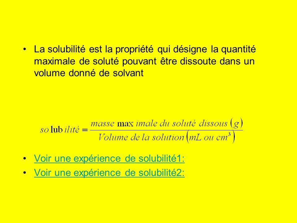 La solubilité est la propriété qui désigne la quantité maximale de soluté pouvant être dissoute dans un volume donné de solvant