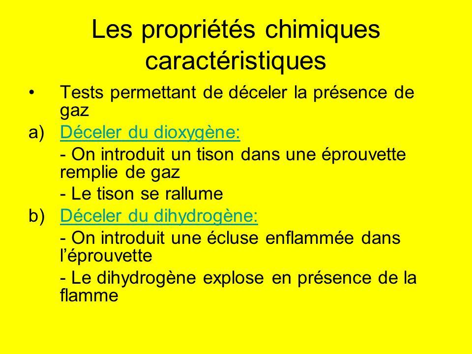 Les propriétés chimiques caractéristiques