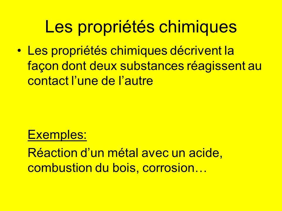 Les propriétés chimiques