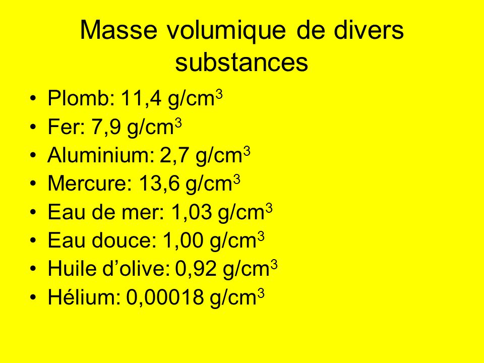 Masse volumique de divers substances