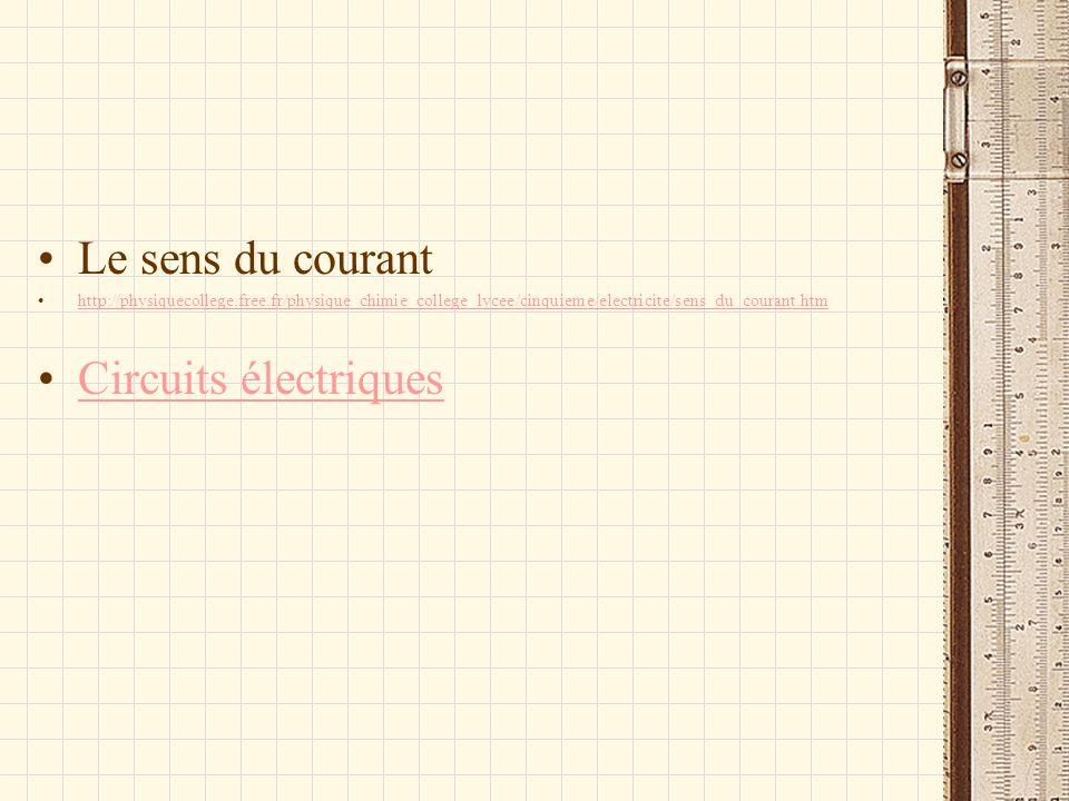 Le sens du courant Circuits électriques