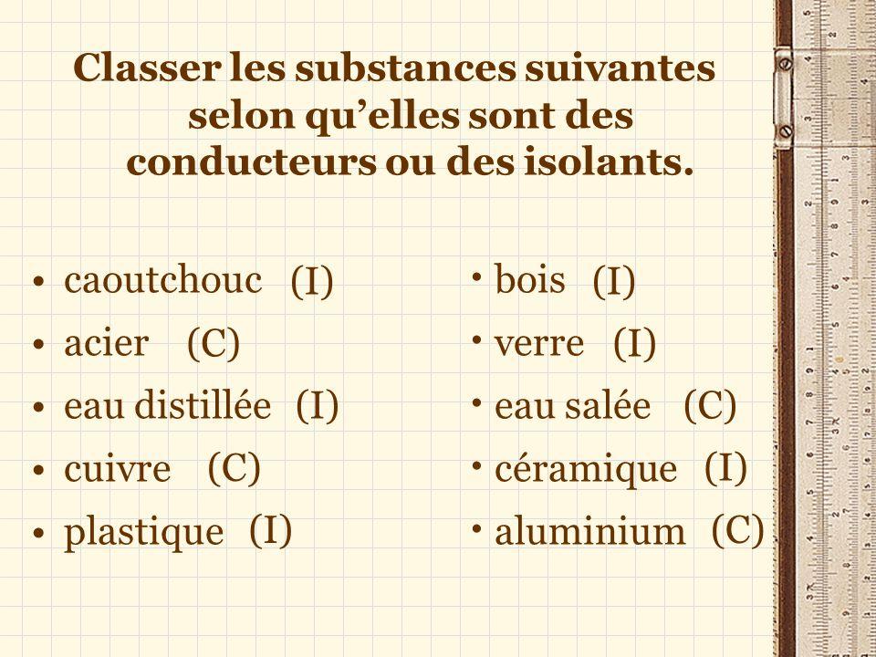 Classer les substances suivantes selon qu'elles sont des conducteurs ou des isolants.