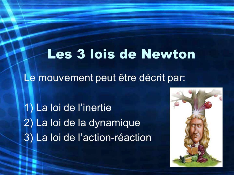 Les 3 lois de Newton Le mouvement peut être décrit par:
