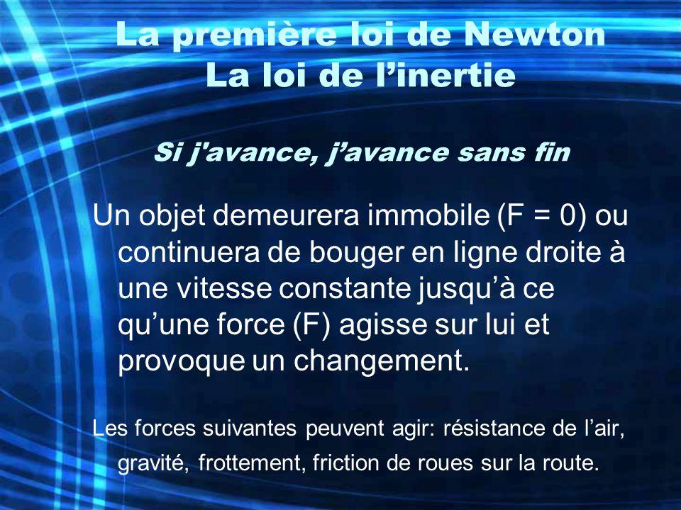 La première loi de Newton La loi de l'inertie Si j avance, j'avance sans fin